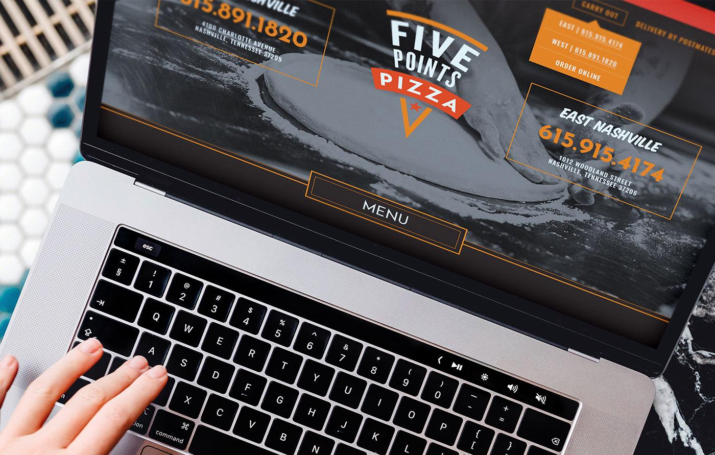 Proof Branding Five Points Pizza UI Design